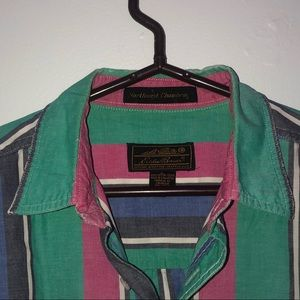 Eddie Bauer green, pink and blue button up T-shirt